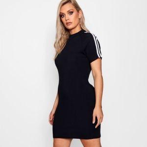 Boohoo Plus Erin Stripe Sleeve Bodycon Dress